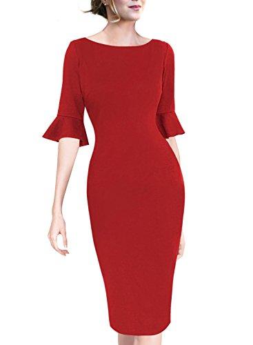 VfEmage Women Elegant Flare Sleeve Polka Dot Vintage Work Bodycon Dress 8282 Red (Elegant Red Dress)