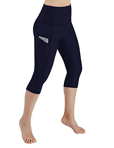 ODODOS Women's High Waist Yoga Capris with Pockets,Tummy Control,Workout Capris Running 4 Way Stretch Yoga Leggings with Pockets,Navy,Large (Navy Yoga Pants)