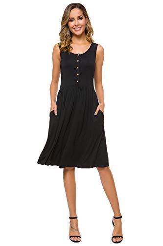 ZEUORLL Women's Summer Button Down Sleeveless Pockets Casual Pleated Swing T-Shirt Dress (Black, X-Large)