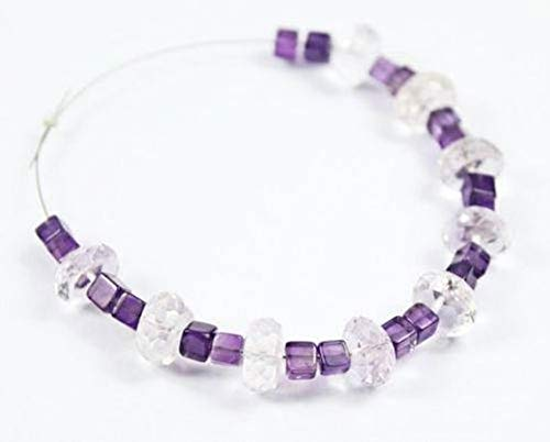 Beads Bazar Natural Beautiful jewellery White Quartz Amethyst Smooth Cube Square Box Gemstone Loose Craft Beads Strand 4mm 9mmCode:- NY-1932   B07L247NHX