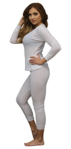 Soft 100% Cotton Waffle Thermal Underwear Long Johns Sets (Medium, White) (Cotton Thermal Long Underwear)