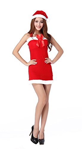 [YeeATZ Sexy Mrs Christmas Party Fancy Two Parts Dress Cosplay Suit] (Mr And Mrs Claus Dog Costumes)
