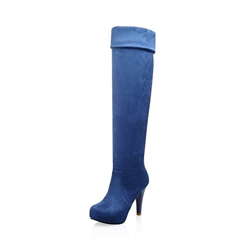 Ladola Girls Stiletto Platform Foldable Blue Frosted Boots - 6.5 B(M) - Stores Williams Az