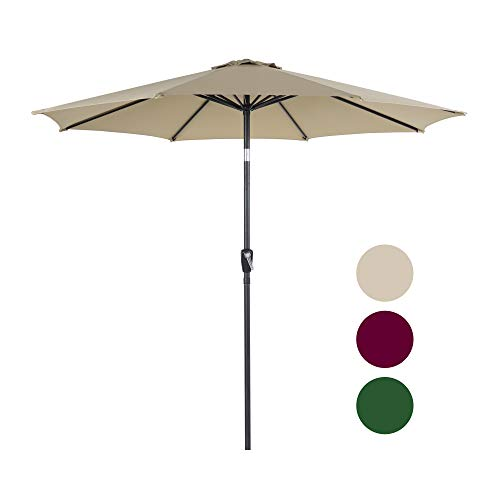 Homevibes 9 Ft Patio Umbrella Outdoor Market Table Umbrella with Push Button Tilt & Crank 8 Steels Ribs 100% Polyester, Tan Review