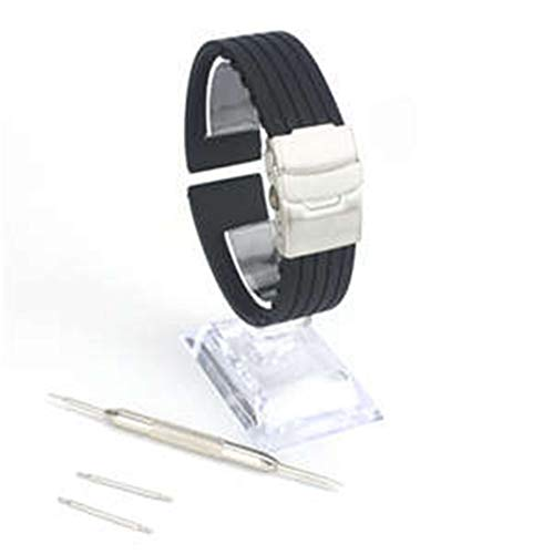 Watch Straps Quick Release Silicone Rubber Watch Strap Band Buckle Waterproof Replacement Watch Bands for Men and Women (Color : Black, Size : 18mm)