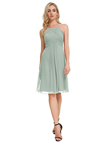 Juniors Green - Alicepub Chiffon Bridesmaid Dresses Halter Cocktail Dress Short Homecoming Party Dresses, Sage Green, US6