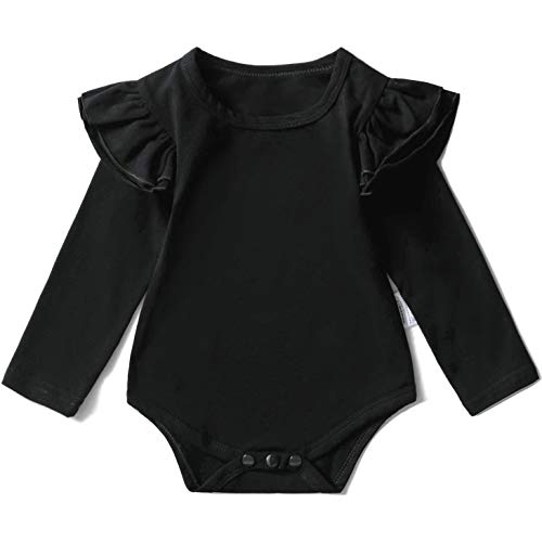 Y·J Back home Baby Girl Black Clothes Infant Ruffle Onesie Shirt Toddler Suit Clothing Spring Fall Onepiece Outfit Long Sleeve Bodysuit Newborn Cotton Romper,9-12 Months