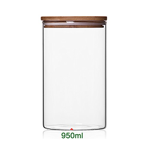 Newerlives Air Tight Storage Jar, Glass Storage Tank with a Natural Bamboo Lid, 450 ML, 650 ML, 950 ML (Bamboo, 950ML)