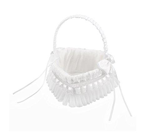 (Antrader Wedding Heart Shape Flower Girl Basket Bowknots Decor Sweet Romantic Petals Storage Basket White)