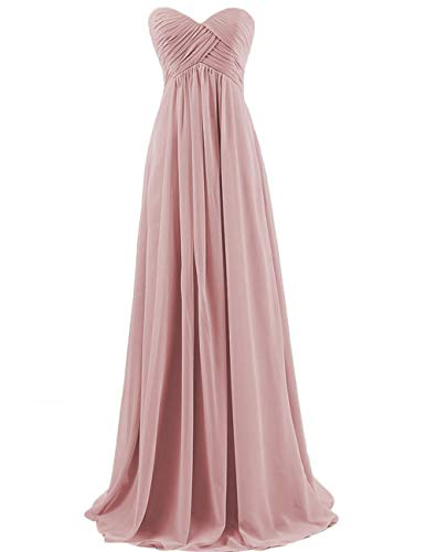 Bridesmaid Dresses Long Prom Dress Evening Party Gowns Plus Size Chiffon Sweetheart Maxi for Women Dusty_Rose US 16W