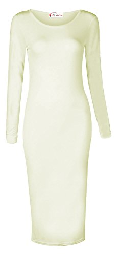 Cream Scoop Neck - Crazy Girls Womens Ladies Long Sleeve Scoop Neck Midi Dress (S/M-US6/8, Cream)