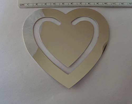 3.5'' Silver Shiny no Tarnish Nickel Plated Great Gift Heart Engravable Bookmark