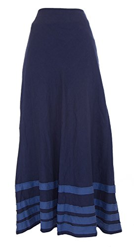 (BODEN Lined Embellished Hem French Blue Linen Maxi Skirt WG440 Size US 6)