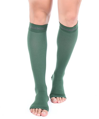 Premium Open Toe Compression Sleeve 1 Pair 20-30mmHg Strong Support Graduated Sock Pressure Sports Running Recovery Shin Splints Varicose Veins Doc Miller (Dark Green, Open Toe, Large)