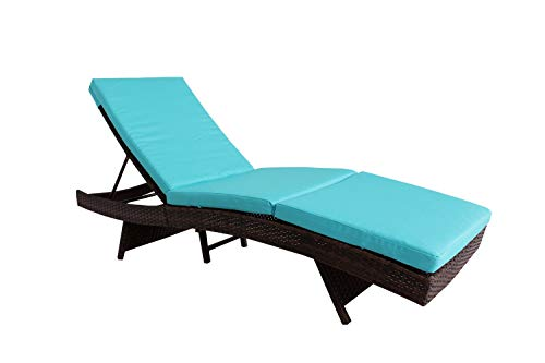 Jetime Patio Lounge Chair Outdoor Brown Rattan Lounger Wicker Portable Chaise Couch Furniture Ajustable Sunbed Garden Couch 4 Color Cushion with Turquoise Cushion