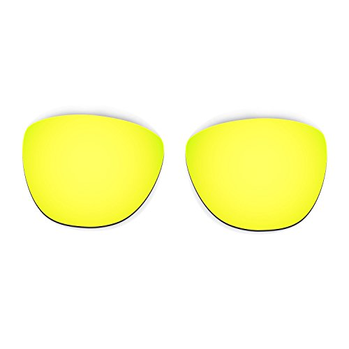 Hkuco Plus Mens Replacement Lenses For Oakley Frogskins Sunglasses 24K Gold/Emerald Green Polarized