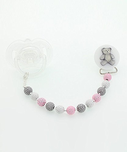Elegant Pink White and Grey Beads with Teddy Bear Keepsake Baby Girl Pacifier Clip 8 Inch (CPGTP)