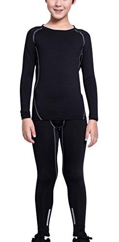 EU Boys Sports Compression Activewear Set Basketball Base Layer Quick Dry Stretchy Athletic Sets Black Grey Size 14