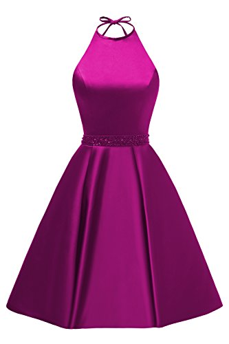 Women's Halter A-line Beaded Satin Formal Party Gown Short Homecoming Dress with Pockets Size 16 Fuschia