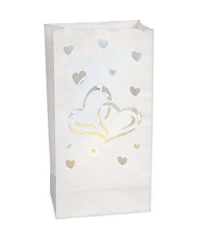 Luminary Bags Paper Two Hearts (12 Pack) Weddings/Bridal Showers/Party (Luminary Supplies)