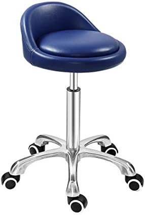 Grace Grace Professional Gilder Series with Backrest Comfortable Seat Rolling Swivel Pneumatic Adjustable Heavy Duty Stool for Shop, Salon, Office and Home Classic Steel Base, Blue