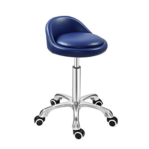 (Grace & Grace Professional Gilder Series with Backrest Comfortable Seat Rolling Swivel Pneumatic Adjustable Heavy Duty Stool for Shop, Salon, Office and Home (Classic Steel Base, Blue))