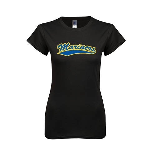 Maine Maritime Next Level Ladies Softstyle Junior Fitted Black Tee 'Mariners Script'