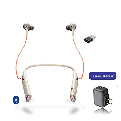 Plantronics Bluetooth Voyager 6200 UC Duo Headphone Neckband with Active Environmental Noise Canceling   Bonus AC Wall Charger Included (Sand) ()