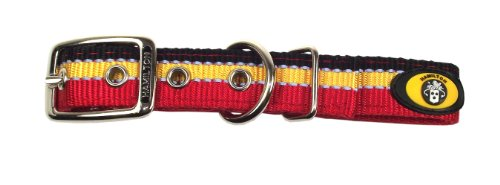 Hamilton Double Thick Deluxe Dog Collar with Reflective Threads, 1 by 24-Inch, Red/Gold/Black