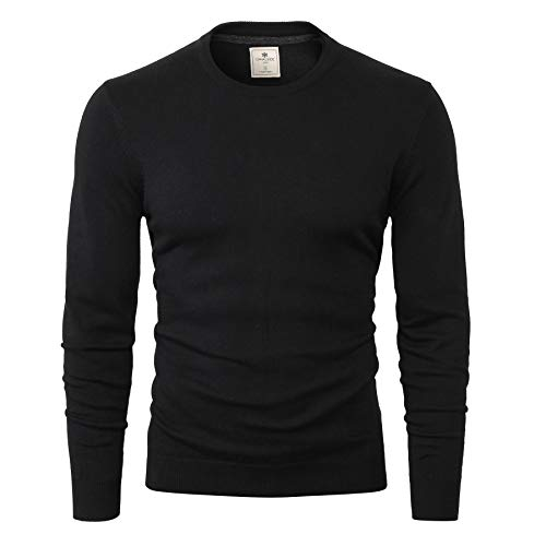CANALSIDE Men's Wool Cotton Knit Crewneck Sweater Comfortably Fitted,Large,Smoky Black ()