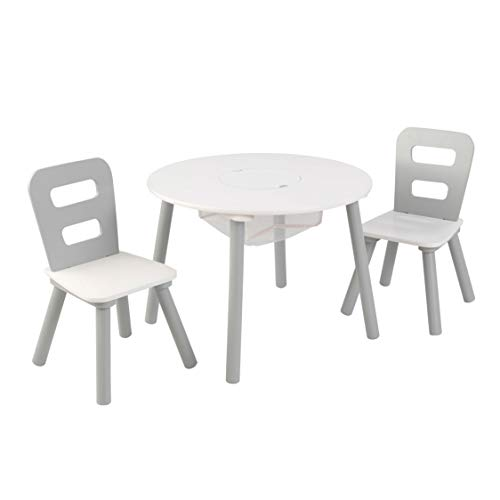 KidKraft 26166 Round Table and Chair Set, White/Gray -