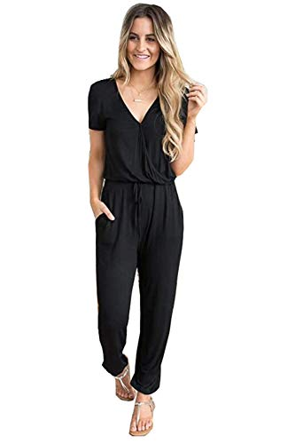 (Cinyifaan Women's V Neck Casual Loose Long Jumpsuits Romper Playsuit with Belt,Medium,Black)