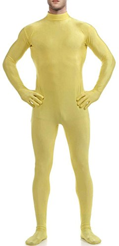 [VSVO Men's Unitard Dancewear Lycra Spandex Bodysuit (X-Large, Yellow)] (Yellow Morphsuit)