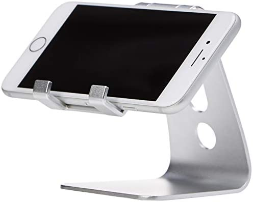 AmazonBasics Adjustable Aluminum Cell Phone Desk Stand for iPhone and Android, Silver 31F0C4qDCcL