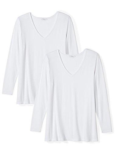 Amazon Brand - Daily Ritual Women's Plus Size Jersey Long-Sleeve V-Neck T-Shirt, White, 2X
