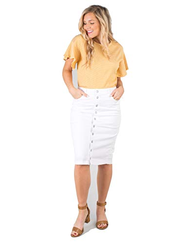 Called To Surf Kora MID/HIGH Waist Knee Length Button-UP Denim Skirt with Pockets White X-Small ()