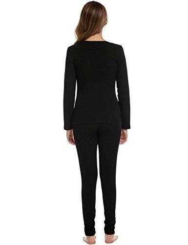 Avidlove Womens Lace Cotton Soft Long John Underwear Set Top and Bottom Fleece Thermal Set