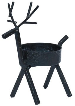 - Black Metal Reindeer Tealight Candle Holder Country Primitive Christmas Holiday Décor
