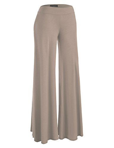 MBJ WB1104 Womens Wide Leg Palazzo Lounge Pants M TAUPE (Clothing Taupe)