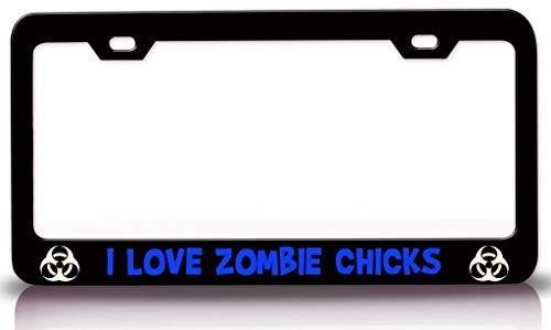 XYcustomBest Matte Black Retro License Plate Frame, Supernatural Print License Plate Frame, I Love Zombie Chicks Zombie, 12