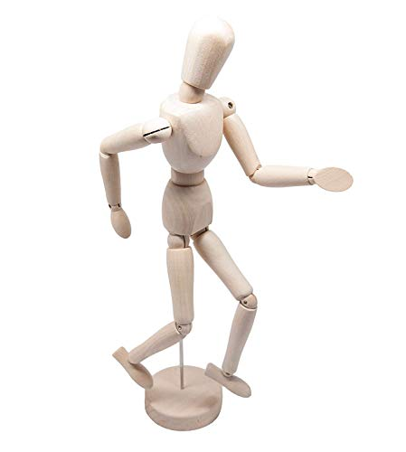 Wooden Man Movable Wood Joint Hand Model Wooden Joint Person Male and Female Children Wooden Hand Crafts by Candora (12in/30cm)