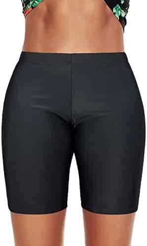 2fcc81afd76b8 Durio Womens Black Swim Shorts Bikini Bottoms Plus Size Bathing Suit  Bottoms Swimsuits for Women Board