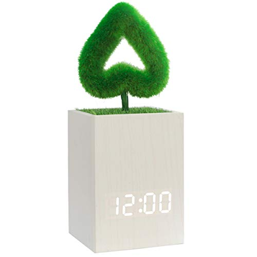 Digital Alarm Clock Wood LED Light Modern Cube Desk Alarm Clock with Artificial Green Plant Time Date Temperature Display for Home Office Travel