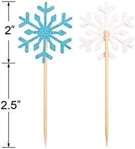 Gold Christmas Picks 12 Snowflake Picks On Wooden Sticks