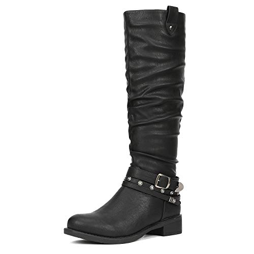 DREAM PAIRS Women's Stand Black Knee High Boots Size 7.5 B(M) US