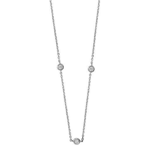 Collier Femme-diamant 16/43,2cm GH or blanc 18carats Pureté SI20,35carats