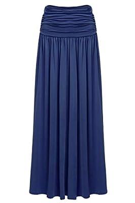 BEAUTYTALK Women's Rayon Span Solid Lightweight Floor Length Maxi Long Skirt with Pockets