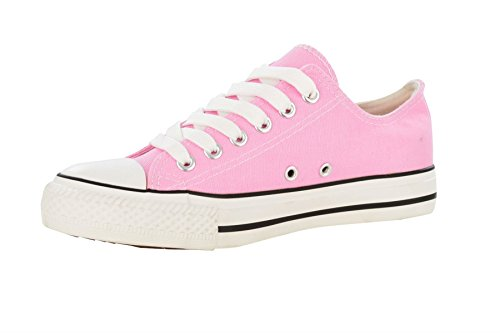 Women's 'LOW TOP' Canvas Plimsole Lace Up Rubber Toe Trainers Light Pink 4 XZHJ0LcT