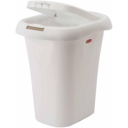 Rubbermaid 5.25-Gallon Spring Top Wastebasket, White (Rubbermaid Spring Top Waste Cans With Linerlock)