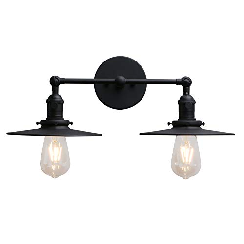 Phansthy 2 Lights Sconce with Switch Matte Black Vanity Light with Dual 7.87 Inches Flat Crafted Light Shade (Matte Black) 2 Base Compact Fluorescent Holder